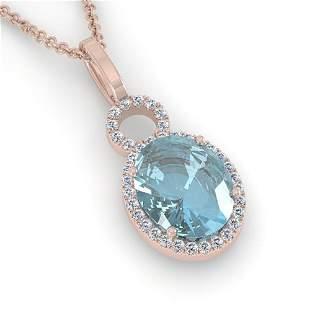 4 ctw Sky Blue Topaz & Micro VS/SI Diamond Necklace 14k