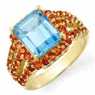 5.0 ctw Red Sapphire & Blue Topaz Ring 10k Yellow Gold