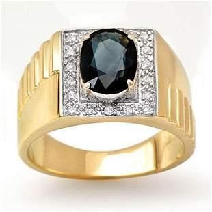 2.65 ctw Blue Sapphire & Diamond Men's Ring 10k Yellow