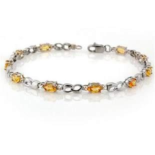 3.51 ctw Yellow Sapphire & Diamond Bracelet 18k White