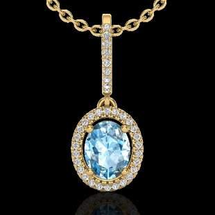 2 ctw Sky Blue Topaz & Micro VS/SI Diamond Necklace 18k