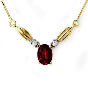 1.30 ctw Garnet & Diamond Necklace 10k Yellow Gold -
