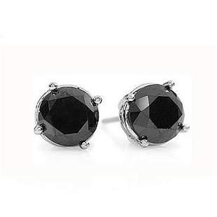 1.0 ctw VS Certified Black Diamond Stud Earrings 18k