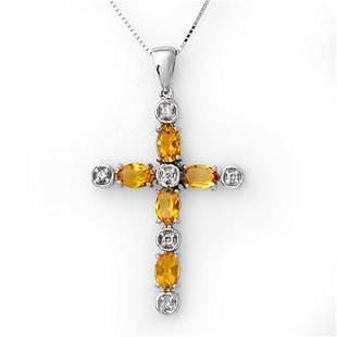 2.15 ctw Citrine & Diamond Necklace 10k White Gold -