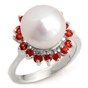 0.75 ctw Red Sapphire Ring 18k White Gold - REF-41M6G
