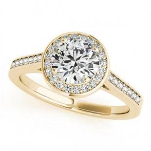 0.75 ctw Certified VS/SI Diamond Halo Ring 14k Yellow
