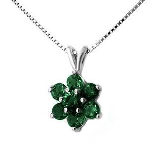 0.75 ctw Emerald Pendant 18k White Gold - REF-14K2Y
