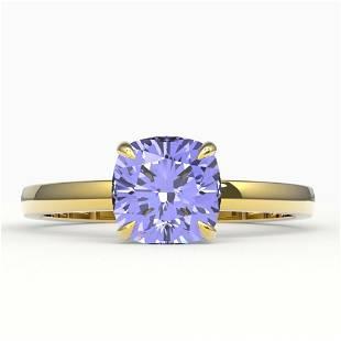 2 ctw Cushion Cut Tanzanite Designer Engagment Ring 18k