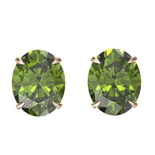 6 ctw Green Tourmaline Designer Stud Earrings 14k Rose