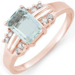 1.41 ctw Aquamarine & Diamond Ring 18k Rose Gold -