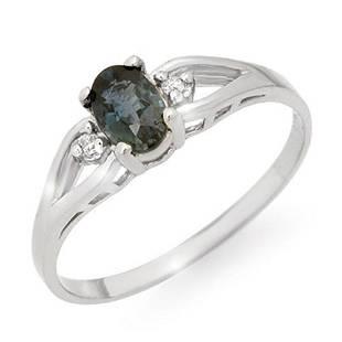 0.52 ctw Blue Sapphire & Diamond Ring 10k White Gold -