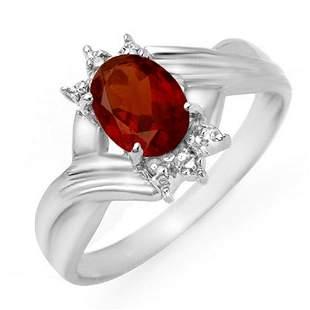 1.04 ctw Garnet & Diamond Ring 18k White Gold -
