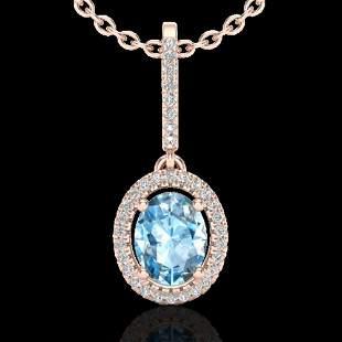 2 ctw Sky Blue Topaz & Micro VS/SI Diamond Necklace 14k