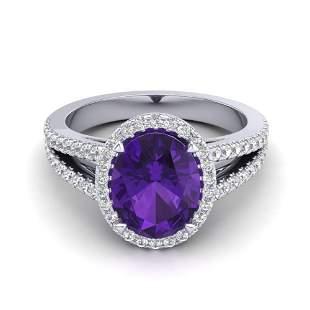 3 ctw Amethyst & Micro VS/SI Diamond Halo Ring 18k