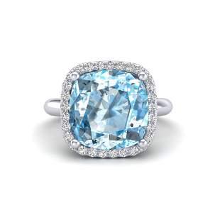 6 ctw Sky Blue Topaz & Micro Pave VS/SI Diamond Ring