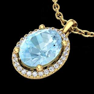2.50 ctw Aquamarine & Micro VS/SI Diamond Necklace 18k