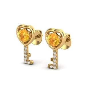 0.60 ctw Citrine & Diamond Micro Pave Key of Heart