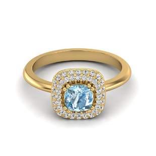 1.16 ctw Sky Blue Topaz & Micro VS/SI Diamond Ring Halo