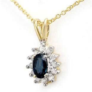 0.51 ctw Blue Sapphire & Diamond Pendant 10k Yellow