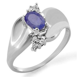 0.54 ctw Tanzanite & Diamond Ring 10k White Gold -