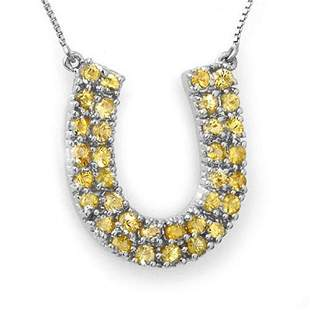 2.0 ctw Yellow Sapphire Necklace 14k White Gold -