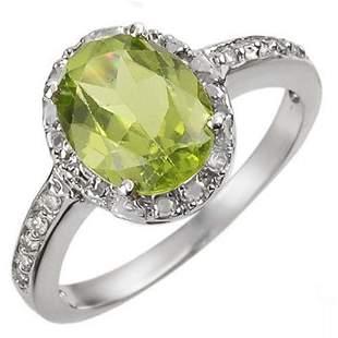 2.10 ctw Peridot & Diamond Ring 10k White Gold -