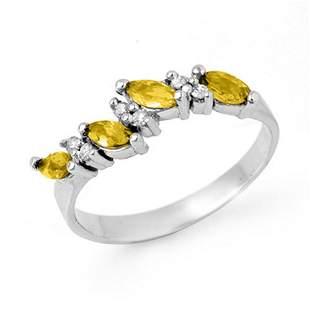 1.02 ctw Yellow Sapphire & Diamond Ring 14k White Gold