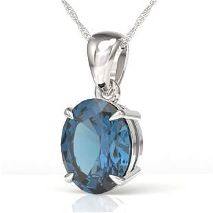 3.50 ctw London Blue Topaz Designer Solitaire Necklace