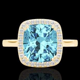 3.50 ctw Sky Blue Topaz & Micro VS/SI Diamond Halo Ring