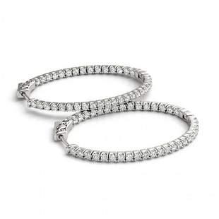 1.55 ctw Diamond VS/SI 30 MM Hoop Earrings 14k White
