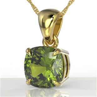 2 ctw Cushion Cut Green Tourmaline Designer Necklace