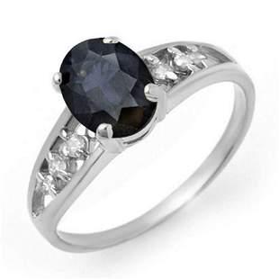 1.60 ctw Blue Sapphire & Diamond Ring 14k White Gold -