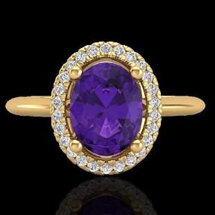 1.75 ctw Amethyst & Micro VS/SI Diamond Ring Halo 18k
