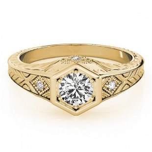 0.4 ctw Certified VS/SI Diamond Antique Ring 18k Yellow