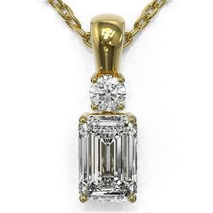 0.6 ctw Emerald Cut Diamond Designer Necklace 18K