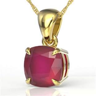 2 ctw Cushion Cut Ruby Designer Necklace 18k Yellow