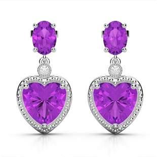 8 ctw Amethyst & VS/SI Diamond Designer Heart Earrings