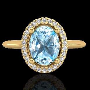2 ctw Sky Blue Topaz & Micro VS/SI Diamond Ring Halo