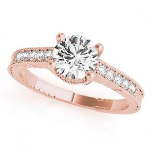 0.34 ctw Certified VS/SI Diamond Antique Ring 14k Rose