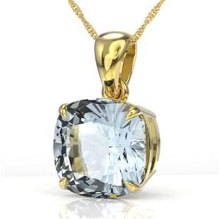 6 Cushion Cut Sky Blue Topaz Necklace 18k Yellow Gold -