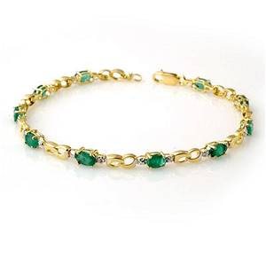 2.76 ctw Emerald & Diamond Bracelet 10k Yellow Gold -