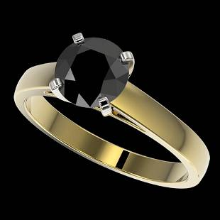 1.50 ctw Fancy Black Diamond Solitaire Engagment Ring