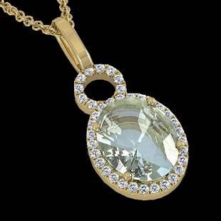 3 ctw Aquamarine & Micro Pave VS/SI Diamond Necklace