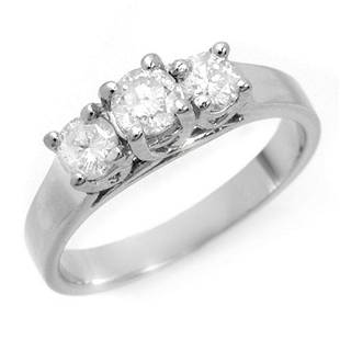 0.50 ctw Certified VS/SI Diamond 3 Stone Ring 18k White