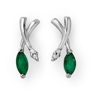 0.50 ctw Emerald & Diamond Earrings 14k White Gold -