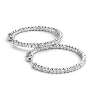 1.25 ctw Diamond VS/SI 25 MM Hoop Earrings 14k White