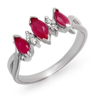 0.57 ctw Ruby & Diamond Ring 10k White Gold - REF-13A5N