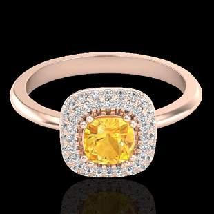 1.16 ctw Citrine & Micro VS/SI Diamond Ring Halo 14k
