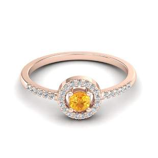 0.50 ctw Citrine & Micro Pave VS/SI Diamond Ring Halo