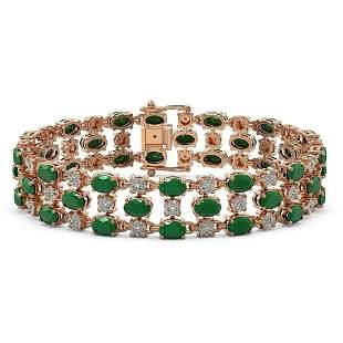 17.74 ctw Emerald & Diamond Row Bracelet 10K Rose Gold